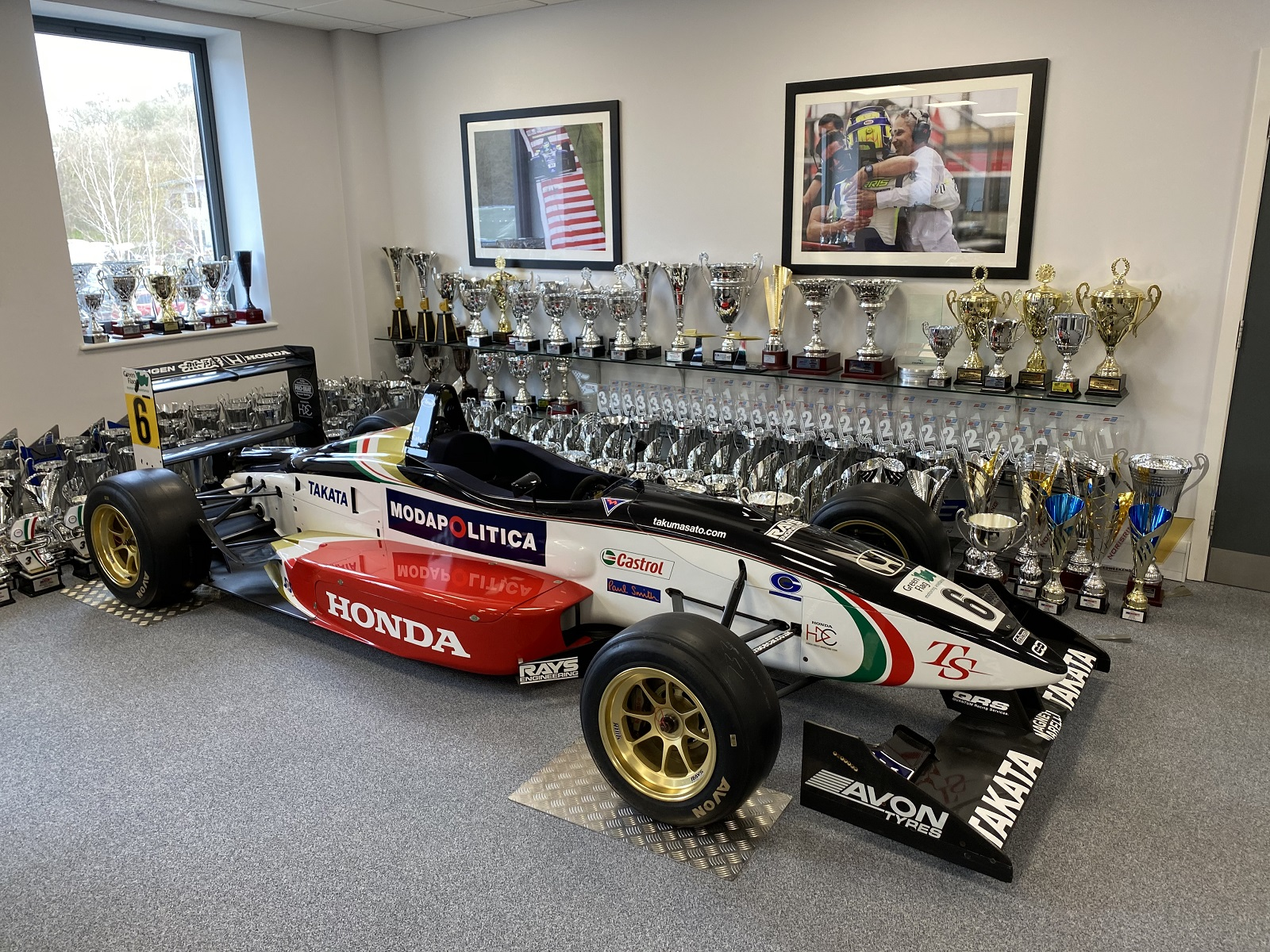 Inside the trophy room of Carlin Motorsport, a client of WemTech